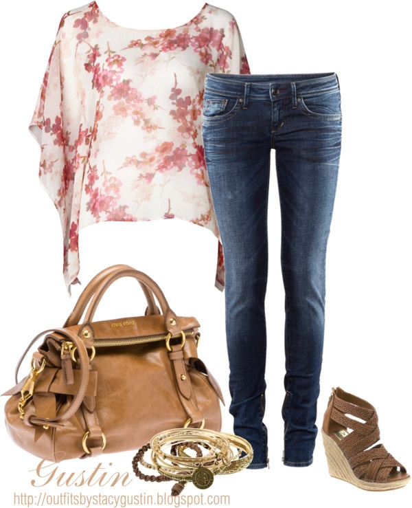 """floral top"" by stacy-gustin ❤ liked on Polyvore"