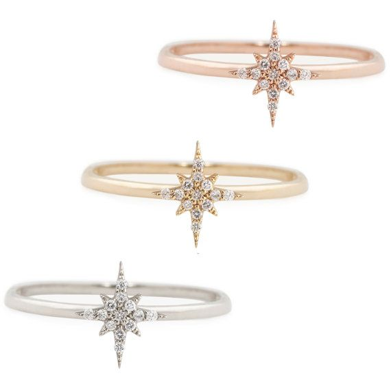 14k gold Starburst diamond ring featuring white diamond with total weight of .08ctw. This detailed diamond clustered ring is unique and very eye