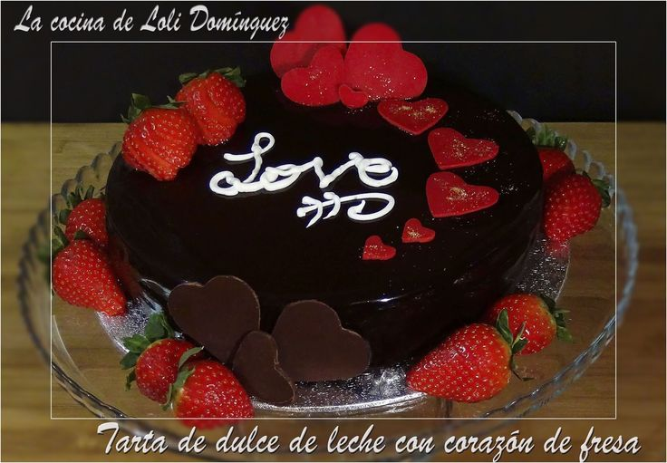 Tarta de dulce de leche con corazón de fresa especial San Valentín. (Sin horno).