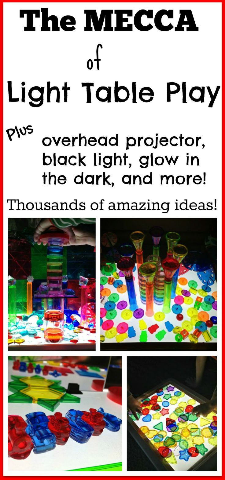 The MECCA of light table play! thousands of amazing ideas!!! *includes lots of Montessori inspired light play activities!!*