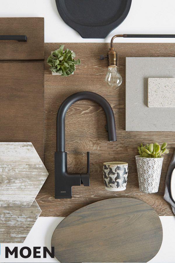 STo Matte black one-handle high arc pulldown kitchen faucet ...