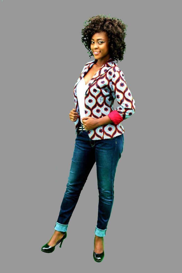 veste cintr e en wax imprim s africains in 2019 veste. Black Bedroom Furniture Sets. Home Design Ideas