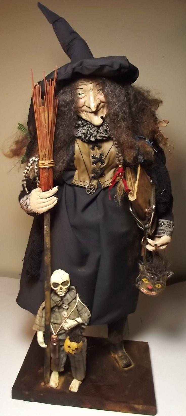 Handmade OoAk Witch & Skeleton Guy By Kim Sweet~Kim's Klaus~Vintage AntiQue Halloween