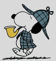 Cross stitch chart, pattern, Snoopy, Detective, Woodstock, Charlie Brown