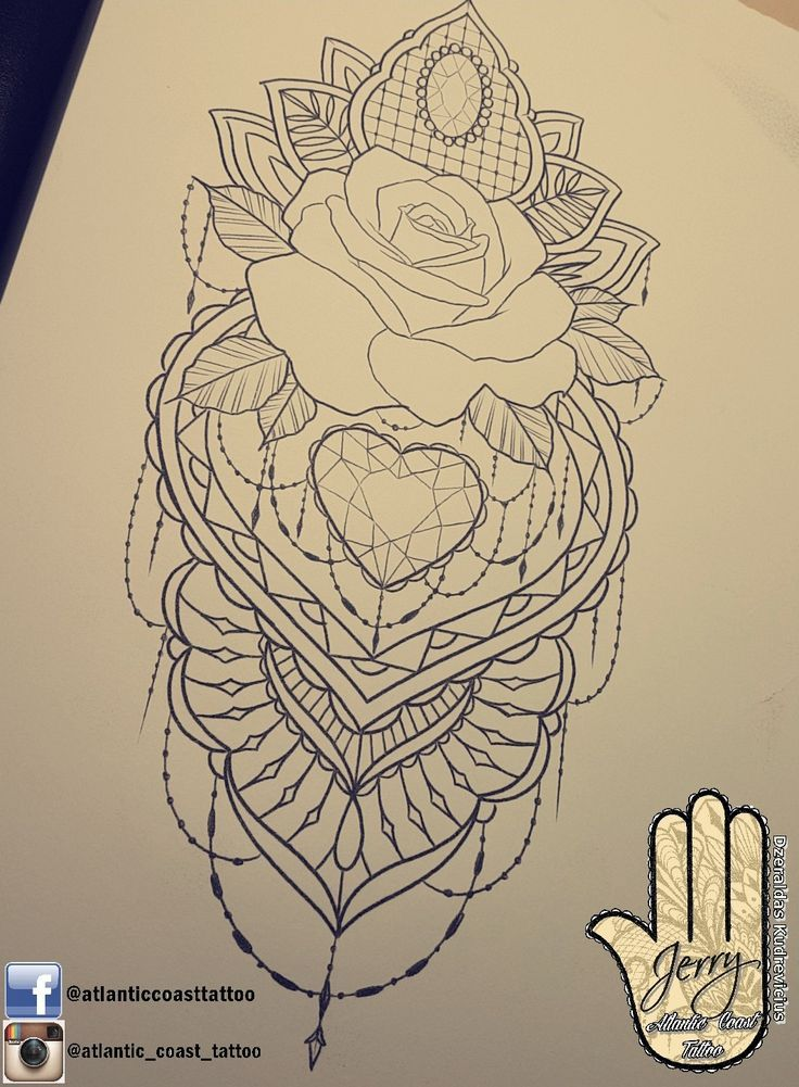 Beautiful rose tattoo idea design for a thigh arm by dzeraldas jerry kudrevicius from Atlantic Coast tattoo.  Mandala style detail with a heart lace r…