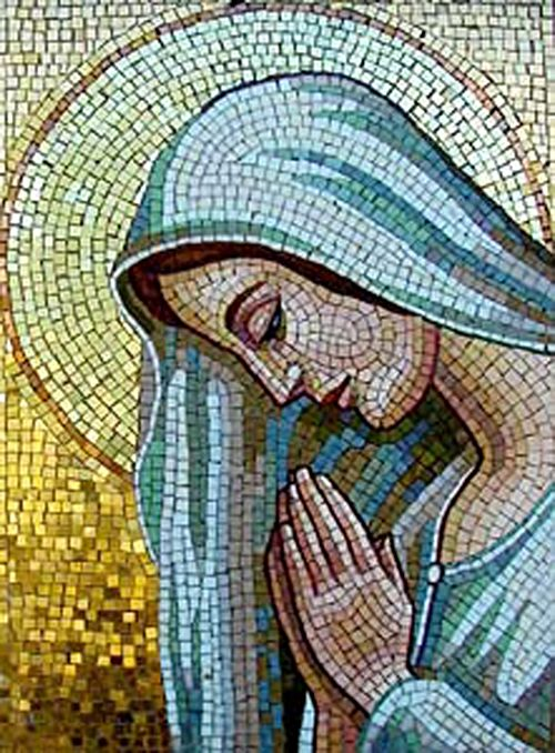 Here's a beautiful mosaic of the Virgin Mary Praying.