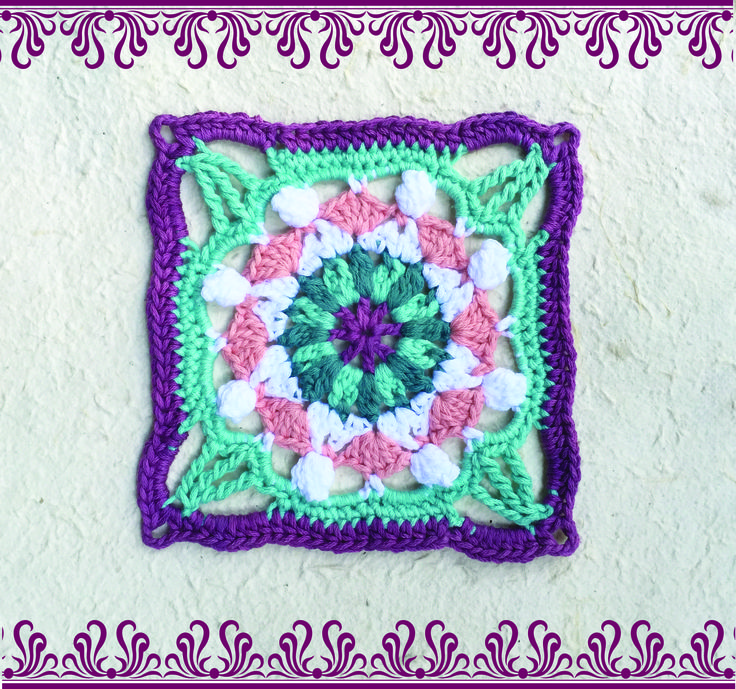 Square 4 in 9 Squares in 9 weeks project http://www.vrouekeur.co.za/english/english-patterns/moroccan-crochet-square-4