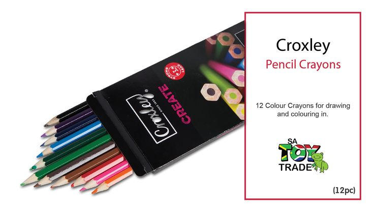 12 Colour Crayons for drawing and colouring in.
