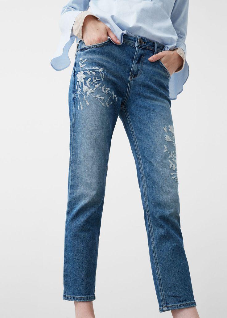 Crotia embroidery straight jeans | MANGO