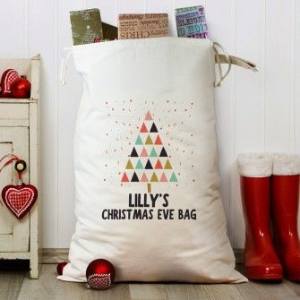 Personalised Funky Christmas Tree Heavy Cotton Sack