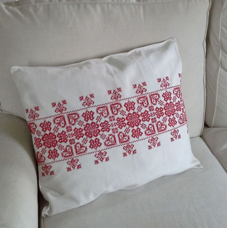Cushion cover from vintage red Transylvanian embroidery Fine cross stitch on fine home loomed linen Top fastened with string ties 57 x 47cm