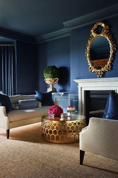 blue walls, white furniture