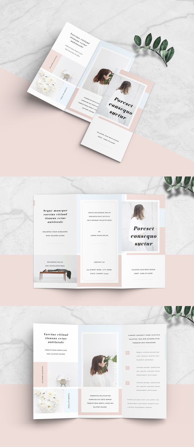 Minimalist Brochure Layout.  #brochure #booklet #flyer #layout #template #design #fold #trifold #fashion #clean #portfolio #modern #lifestyle #blog #elegant #pastel #minimal #minimalist #pink #blue #advertising #customize #hipster #size #paper #print #sample #cmyk #margin #border #marks #bleed #trim #crop #leaflet #pamphlet #proposal #handout #informational #publishing #branding #business #corporate #company #templates #indd #indt #indesign #minimalist brochure layout