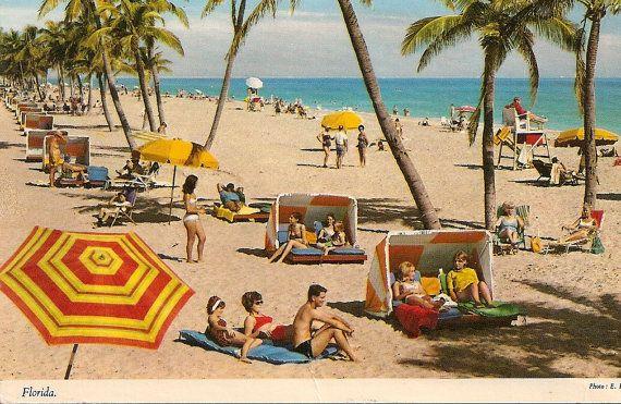 Vintage Beach Scene Florida FL Old Postcard Bathing Beauties on the Beach Bright Beach Umbrellas Palm Trees via Etsy