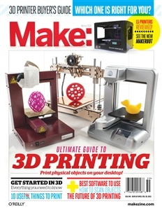 MAKE's Ultimate Guide to 3D Printing Special Issue! Buyers guide, reviews, and tutorials. On newsstands Nov. 20, 2012.