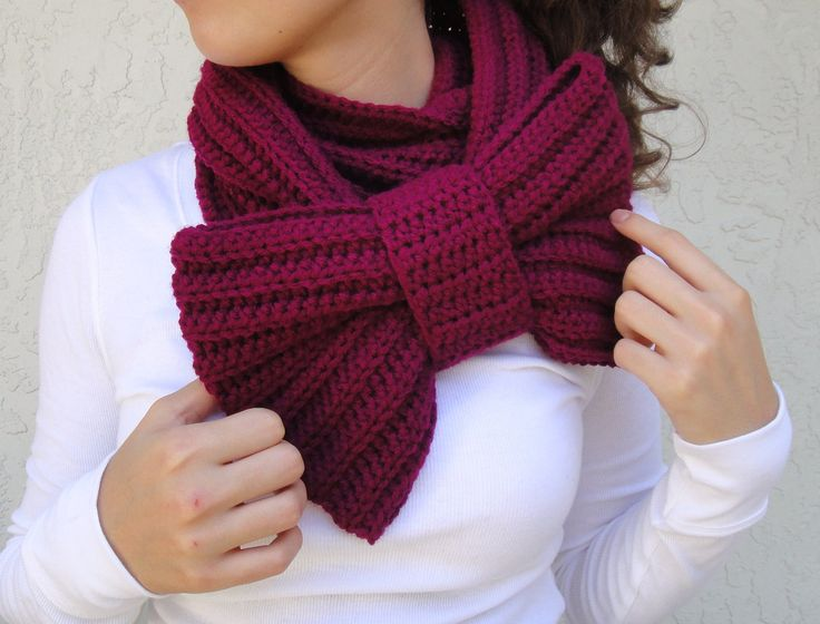 Magenta Crocheted Bow Infinity Scarf by vintagelookcreations, $34.95