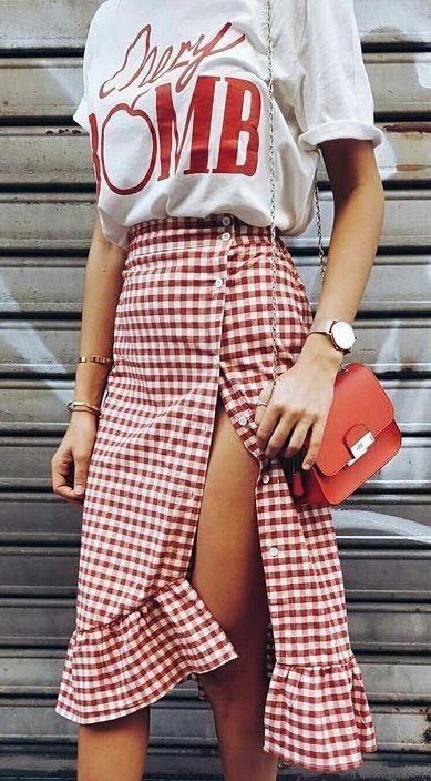 summer style. red gingham skirt.