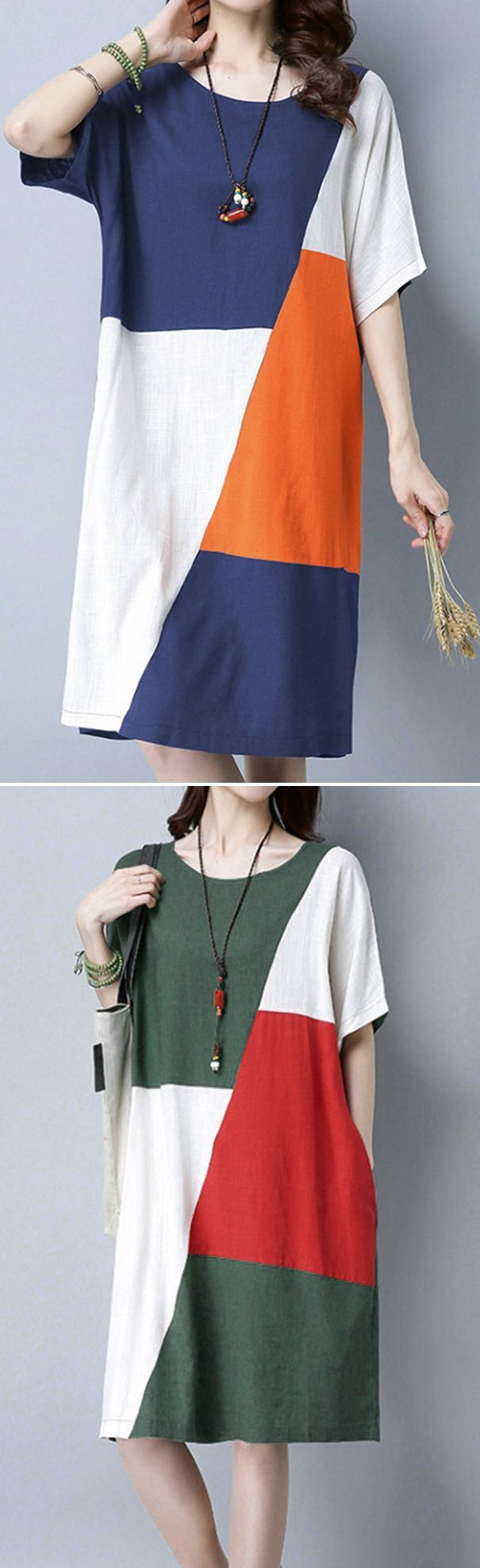 US$ 19.38 Casual Patchwork Loose Short Sleeve O-neck Dress For Women