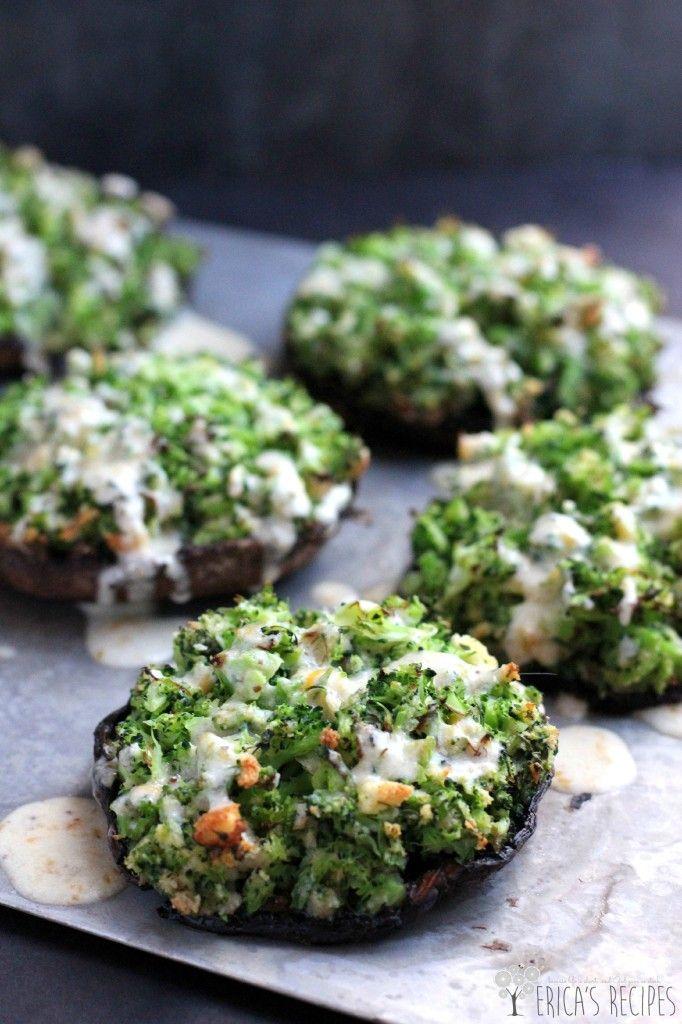 Broccoli-Stuffed Portabello Mushrooms with Dijon-Cheddar Sauce #mushroom #recipe