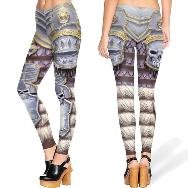 Barbarian Game Halloween Cosplay Yoga Pants Fitness Stretchy Leggings Gym Running Tights Metallic Steel Armor Punk Women Trouser
