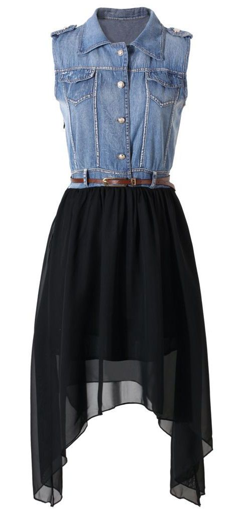 Denim Top Asymmetric Chiffon Dress ♥ L.O.V.E.