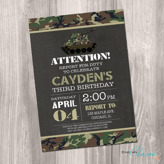 Camo Birthday Invitation Camo Invitation by StyleswithCharm