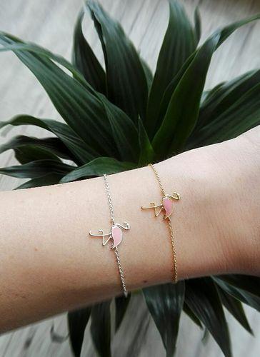Süße Flamingo Armbänder in gold und silber.