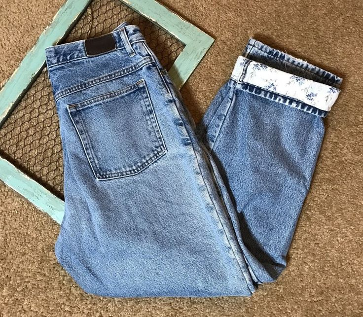 LL Bean Double L Womens Size 12 Reg Jeans Relaxed Fit Cotton Lined Distressed #LLBean #Relaxed