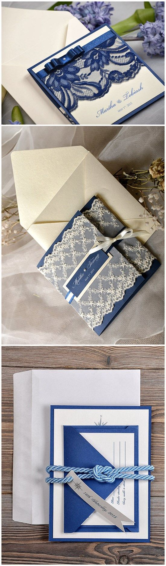 Blue Vintage Lace Wedding Invitations from etsy