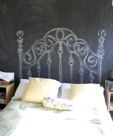 Paint the wall behind the bed with chalkboard paint...and then draw a headboard on the wall. (I would make the headboard permanent but with white paint, not to erase!)