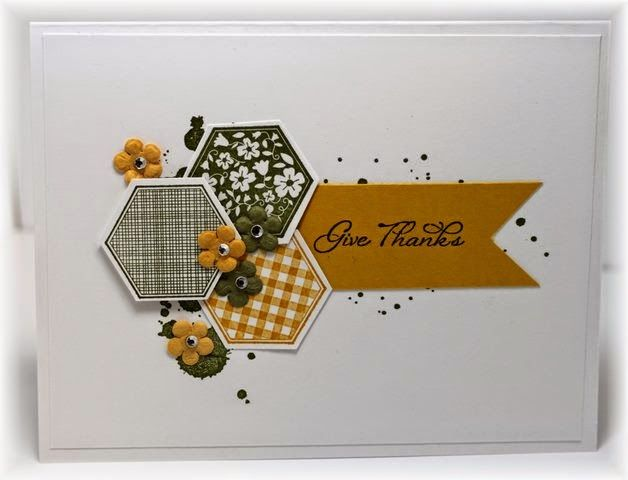 The card - hexagon stamp/punch is from SU. I added a bit of grunge in the background and some small prima flowers. Col...