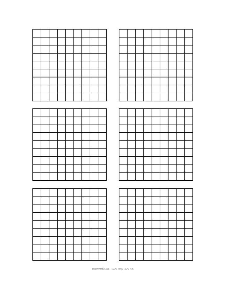 free printable blank sudoku grids