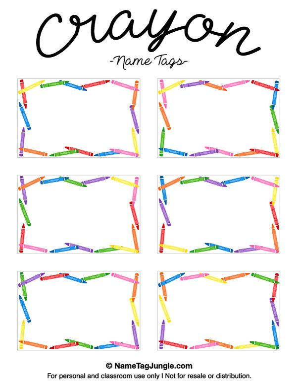 Free printable crayon name tags. The template can also be used for creating items like labels and place cards. Download the PDF at http://nametagjungle.com/name-tag/crayon/