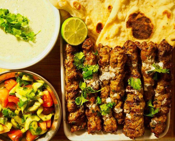 "233 Likes, 9 Comments - Simon Majumdar (@simonmajumdar) on Instagram: ""Supper for @sazyrock. Kofta kebab (recipe soon come), homemade naan, tomato & cucumber salad, and…"""