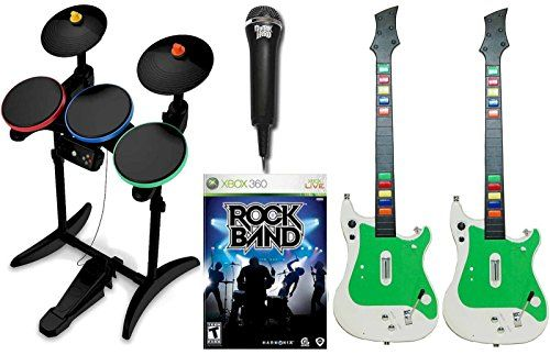 Xbox 360 ROCK BAND 1 Video Game with 2 Wireless Guitars Guitar Hero Wireless Drums and USB Microphone Bundle Set * You can get additional details at the image link.