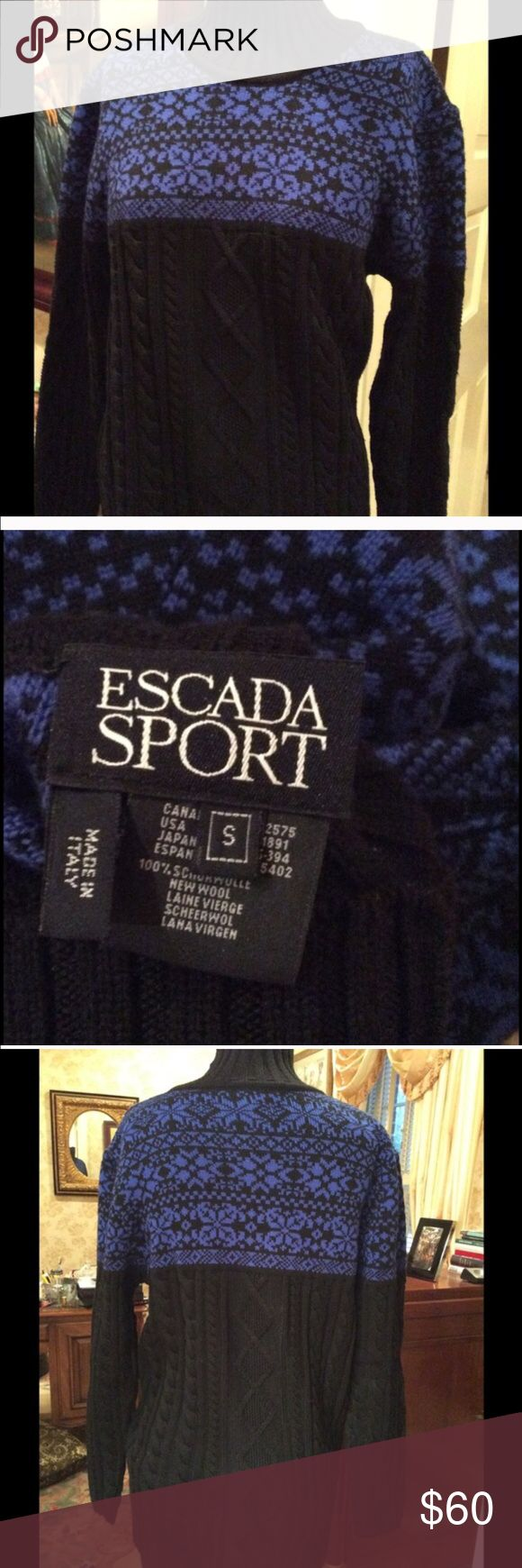 """Escada Sport Wool Sweater excellent condition Beautiful wool sweater blue and black size S. very soft wool made in Italy 🇮🇹.  Size 26"""" length and 36"""" chest and 46"""" hips Escada Sweaters Cowl & Turtlenecks"""