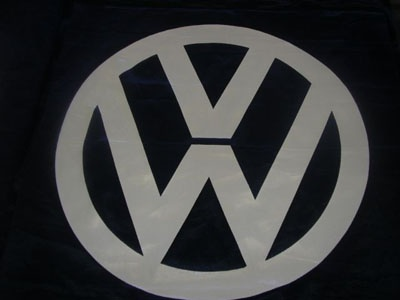 Beautiful picture of VW printed on shade cloth .