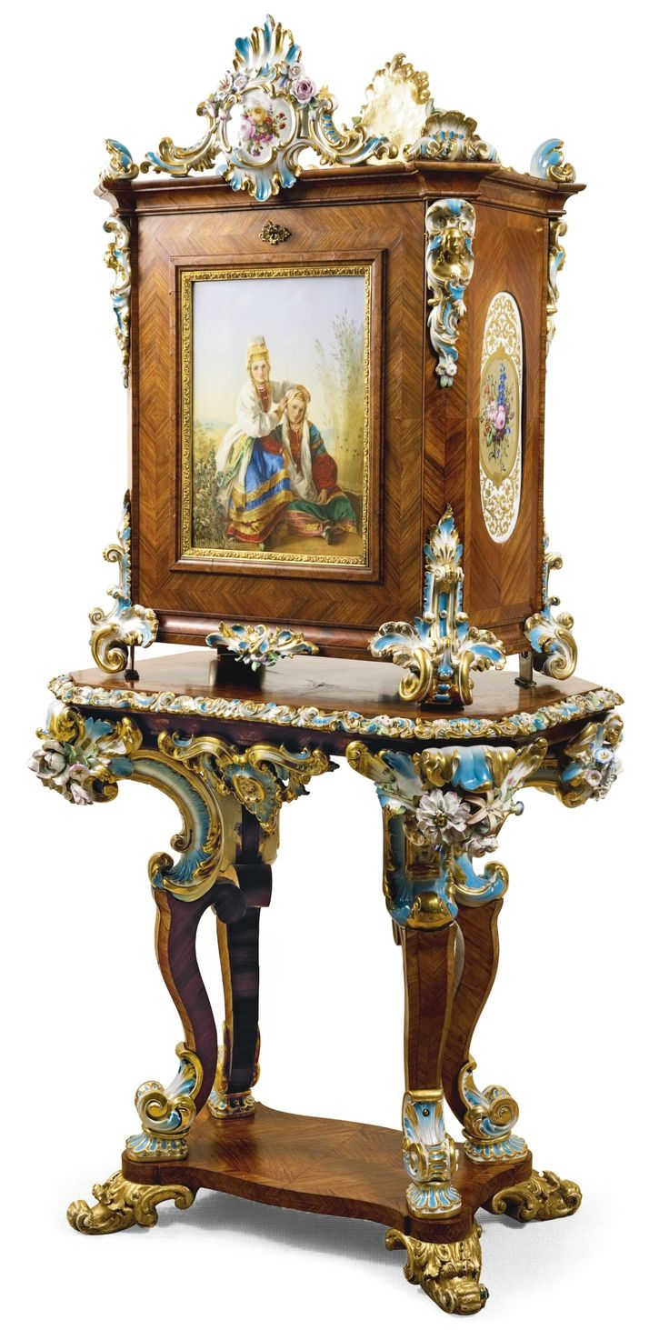 A Rosewood, Porcelain And Gilt Bronze Writing Cabinet, Peter And Ernst  Gambs And