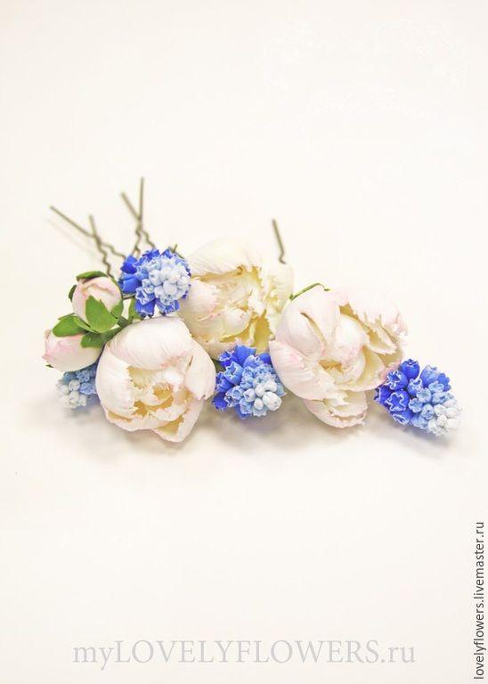 Купить Пиончики из полимерной глины для прически на шпильках - цветы ручной работы, цветы из полимерной глины