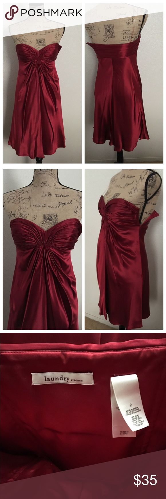Laundry, Red Silk dress 🚫No trades🚫 ✨Price is firm✨   Absolutely beautiful, soft and sexy little dress by Laundry. 100% silk with a flattering fit. Made for a petite woman and not much room for big busts. Dress remains in great condition ⚠️Nothing wrong with zipper, my mannequin isn't small enough to fit in that dress and wouldn't zip up all the way. Also last picture shows some signs of wear, missing left side clear strap and it has a couple of flaws nothing major and barely noticeable…