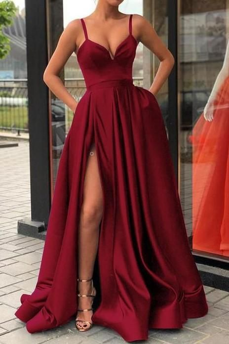 f037eeecab3 High Thigh Slit Burgundy Formal Prom Dresses with Double Straps in ...