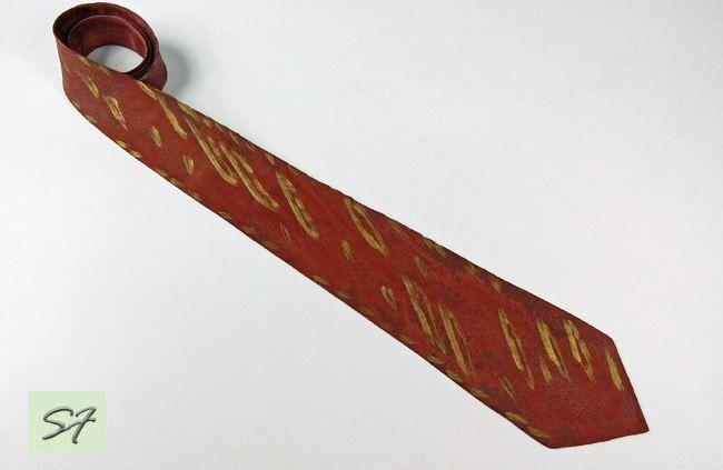 Brown Necktie, Chocolate Tie, Striped Tie, Tie with Golden Stripes, Hand Painted Tie, Silk Satin Tie, Men Necktie, Unique Men Gift Birthday by SilkFantazi on Etsy