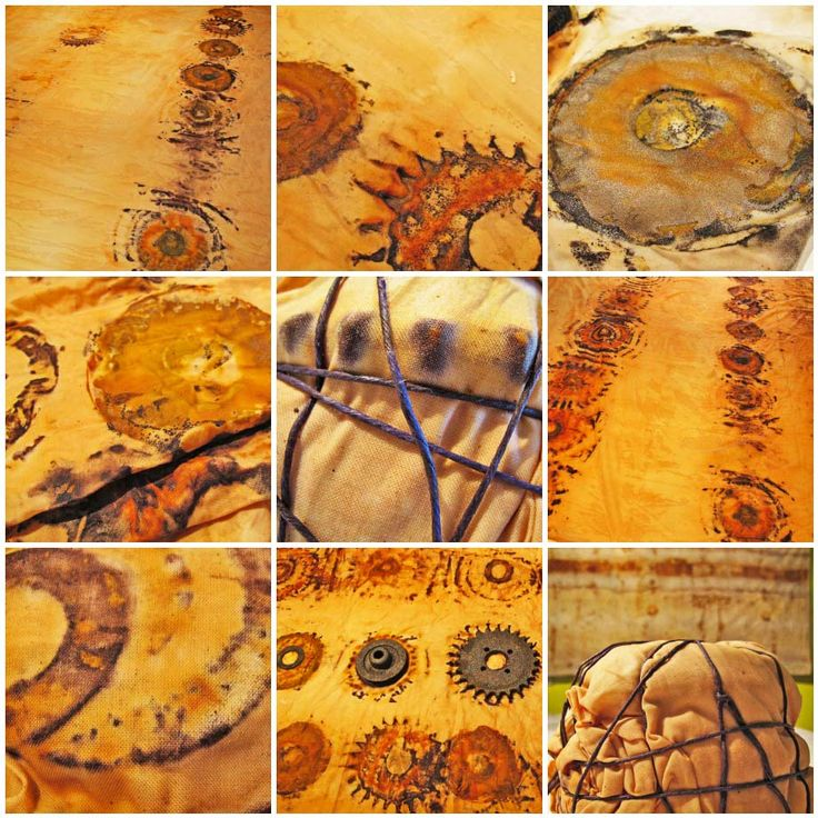 Tea, Vinegar, and a little rust... cloth effects. what happens to yarn & fibre???