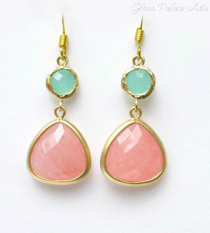 Dazzling gemstones with infinite sparkle - Framed coral quartz stones dangle with mint / aqua colored stones - Total earring length is approx 1 1/2 inches long - French hook ear wires are 14k gold fil