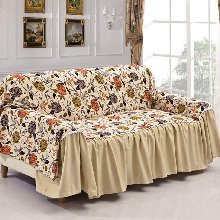 Attractive Thick Non Slip Cotton Canvas Fabric Sofa Cover 190*300cm Sofa Covers Three  Pastoral