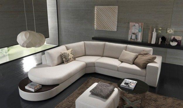 Divano angolare con penisola tonda - Forme sinuose per il divano angolare per la casa.