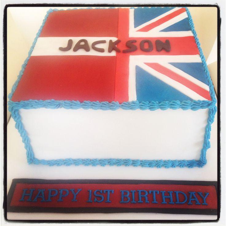 Latvian & Union Jack flag birthday cake