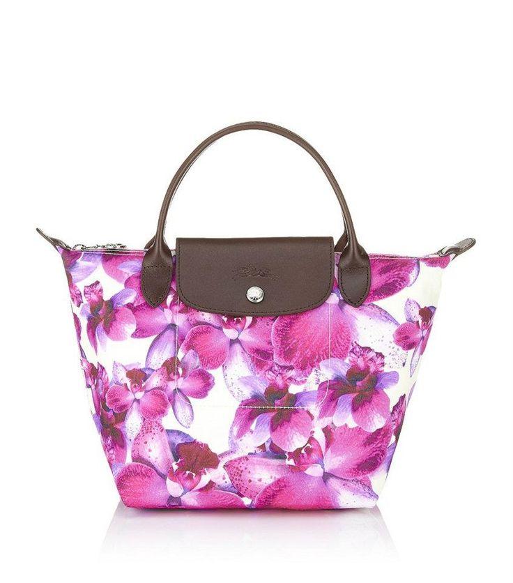Longchamp Le Pliage Orchideal in Violet, small short handle
