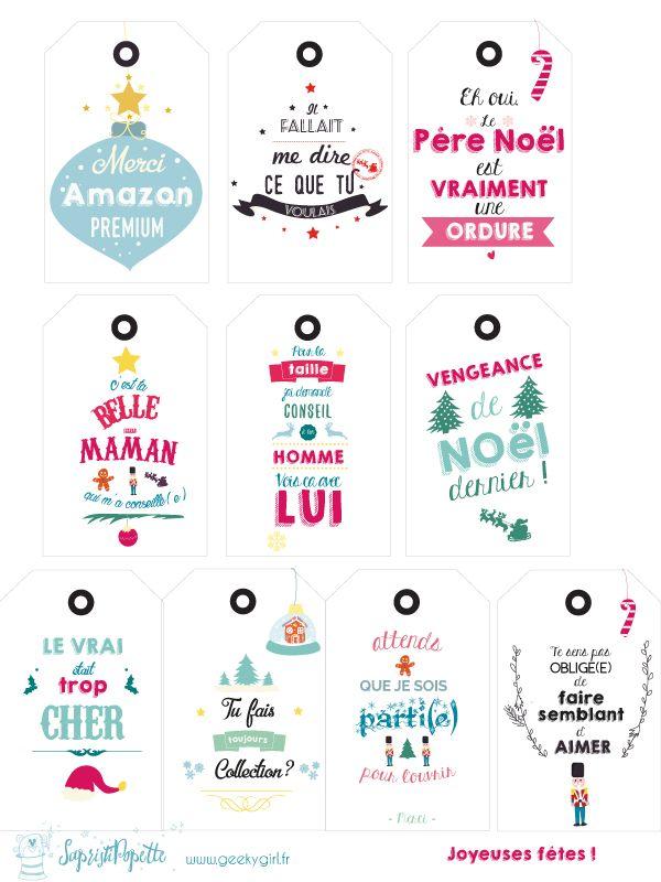 des étiquettes de Noël à télécharger : version humoristique ! Car oui, Noël c'est la fête, le partage, mais aussi … pas si facile de trouver LE cadeau ! www.geekygirl.fr #freebies #printable #free #noel #christmas #tag #etiquettes #cadeau #gift