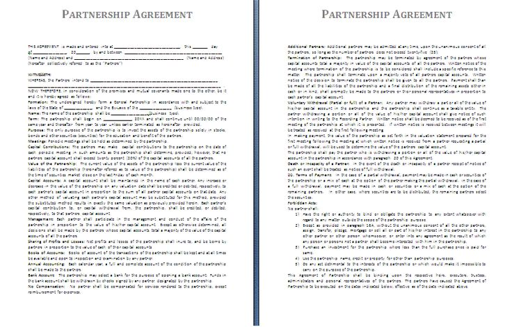 Boat Partnership Agreement Template